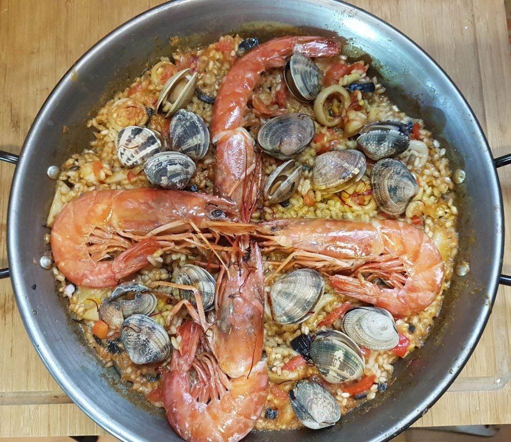 receta para una paella de marisco